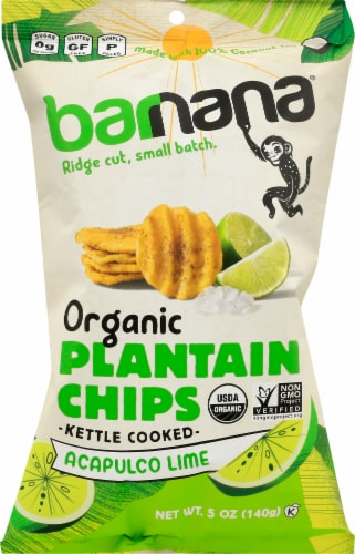 Barnana Organic Ridged Acapulco Lime Plantain Chips Perspective: front