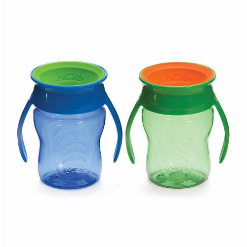 Wow Cup Blue & Green Baby 360 Spill Free Cups 2 Count Perspective: front