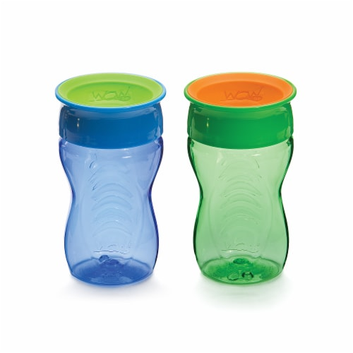 Wow Cup Blue & Green Kids 360 Spill Free Cups 2 Count Perspective: front