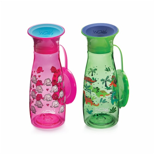 Wow Cup Pink & Green Mini 360 Spill Free Bottles 2 Count Perspective: front