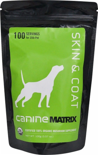 Canine Matrix  Skin & Coat Matrix Certified 100% Organic Mushroom Supplement Perspective: front