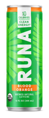 Runa Zero Blood Orange Energy Drink Perspective: front