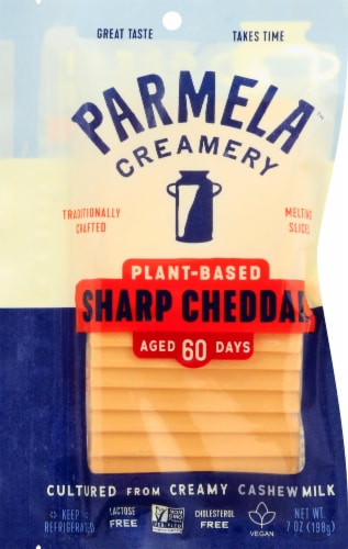 Parmela Creamery Plant-Based Aged Sharp Cheddar Style Slices Perspective: front
