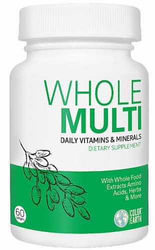 Color Earth  Whole Multi Daily Vitamins & Minerals Dietary Supplement Perspective: front