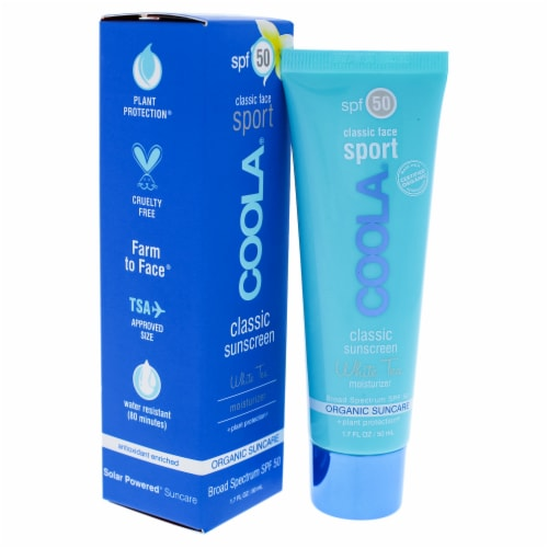 Coola Classic Face Sport Sunscreen Moisturizer SPF 50  White Tea 1.7 oz Perspective: front