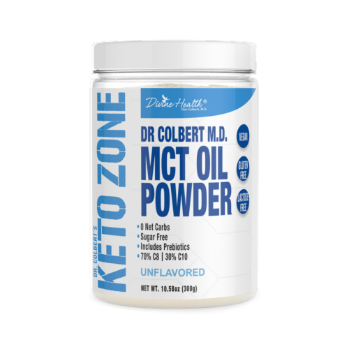 Divine Health Keto Zone Unflavored MCT Oil Protein Powder Perspective: front