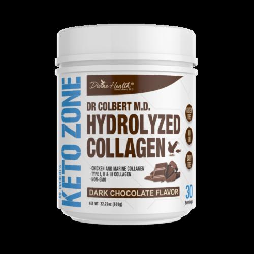 Divine Health Keto Zone Dark Chocolate Hydrolyzed Collagen Protein Powder Perspective: front