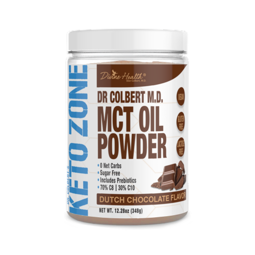 Divine Health Keto Zone Dutch Chocolate Flavored MCT Oil Powder Perspective: front