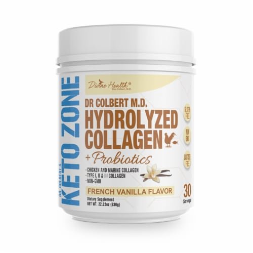 Divine Health Keto Zone French Vanilla Hydrolyzed Collagen + Probiotics Protein Powder Perspective: front