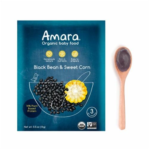 Amara  Organic Baby Food Stage 3   Black Bean & Sweet Corn Perspective: front