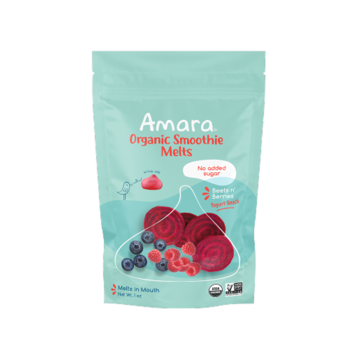 Amara Beets n' Berries Organic Smoothie Melts 6 Count Perspective: front
