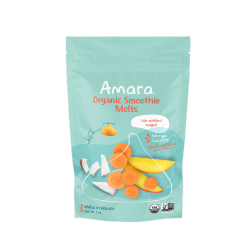 Amara Mango Carrots Organic Smoothie Melts 6 Count Perspective: front