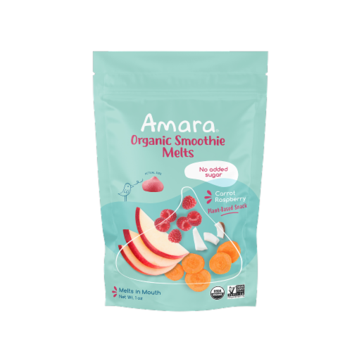 Amara Carrot Rasberry Freeze Dried Smoothie Melts Perspective: front