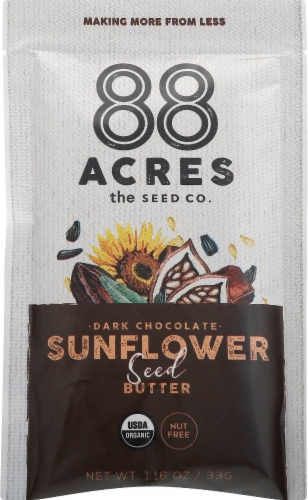 88 Acres Organic Chocolate Sunflower Seed Butter Pouch Perspective: front
