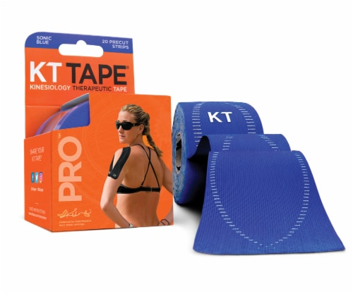 KT Tape Pro Sonic Blue Kinesiology Therapeutic Tape Strips Perspective: front