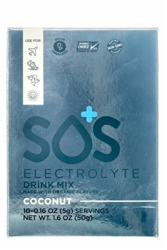 SOS Coconut Electrolyte Drink Mix 10 Count Perspective: front