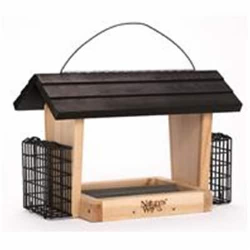 Natures Way Bird Products 6 qt Hopper Feeder with Suet Cages, Cedar Perspective: front