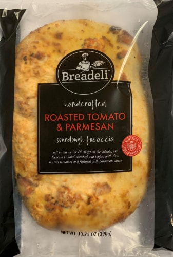 Breadeli Handcrafted Roasted Tomato and Parmesan Sourdough Focaccia Perspective: front