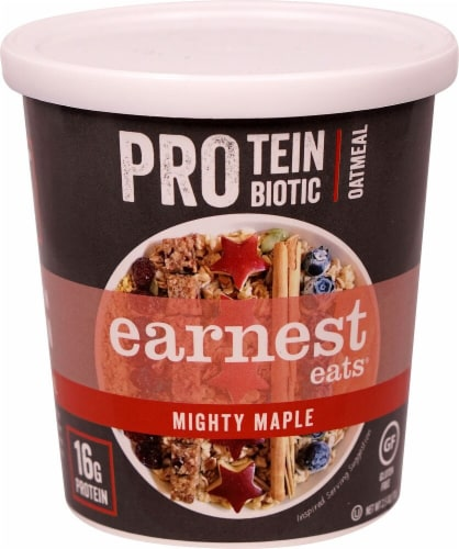 Earnest Eats  Protein Probiotic Oatmeal Cup Gluten Free   Mighty Maple Perspective: front