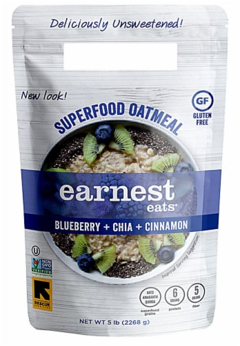 Earnest Eats  Superfood Oatmeal Gluten Free   Blueberry Chia Perspective: front