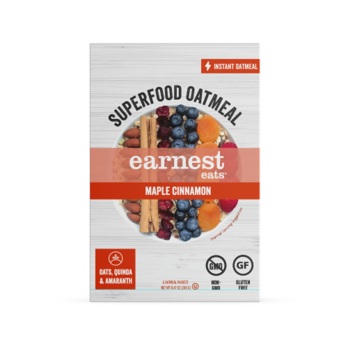 Earnest Eats Maple Cinnamon Superfood Instant Oatmeal Perspective: front