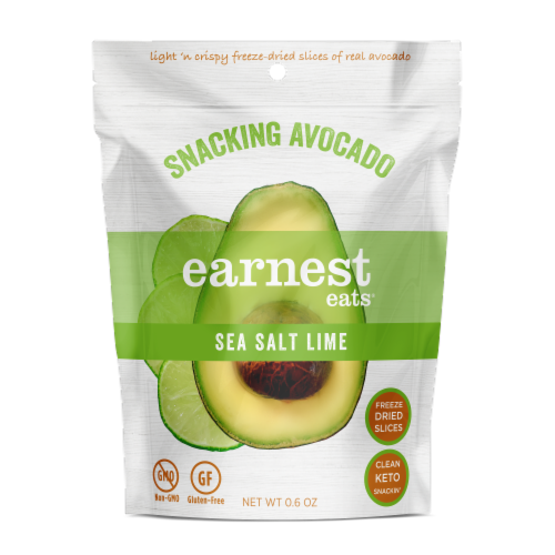 Earnest Eats Dried Avocado Slices - Sea Salt & Lime Perspective: front