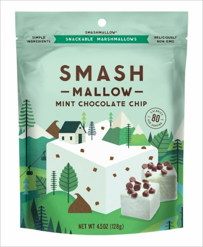 Smash Mallow Mint Chocolate Chip Marshmallows Perspective: front