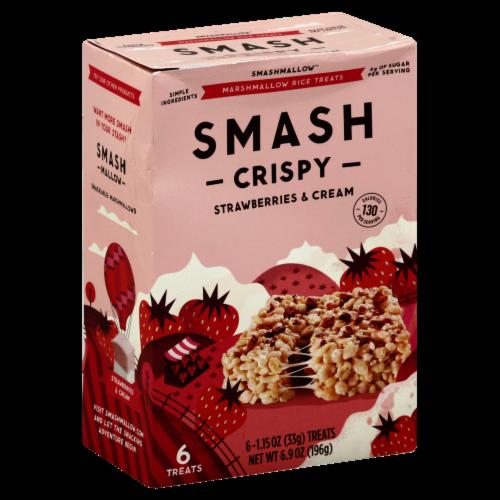 Smashmallow Crispy Strawberries & Cream Marshmallow Rice Treats 6 Count Perspective: front