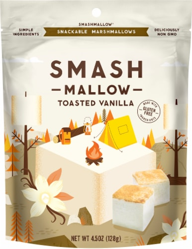 Smash Mallow Toasted Vanilla Marshmallows Candy Perspective: front