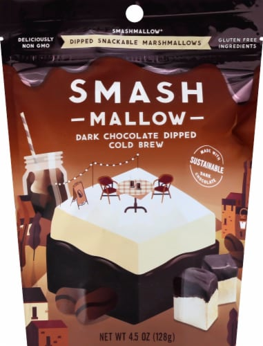 Smashmallow Dipped Dark Chocolate Cold Brew Marshmallow Snack Perspective: front