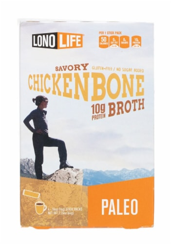 Lonolife Savory Chicken Bone Broth Stick Packs Perspective: front