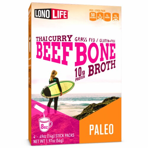Lonolife Thai Curry Beef Bone Broth Stick Packs Perspective: front