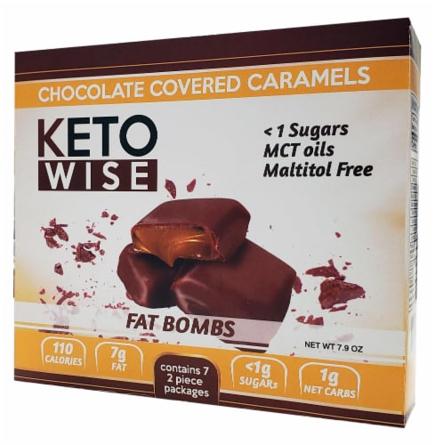 Keto Wise Chocolate Covered Caramels Fat Bombs Perspective: front