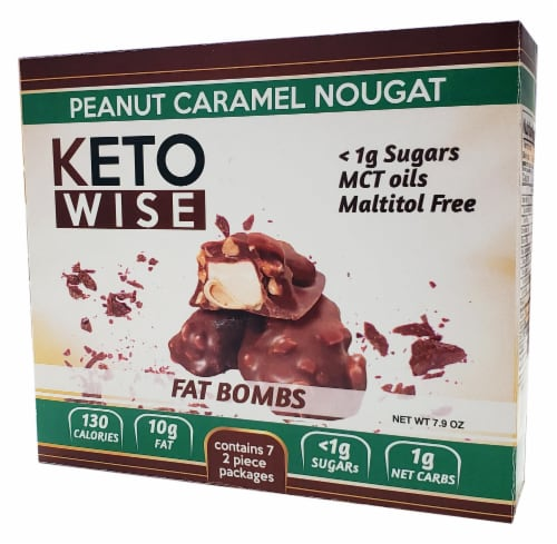 Keto Wise Peanut Caramel Nougat Fat Bombs Perspective: front