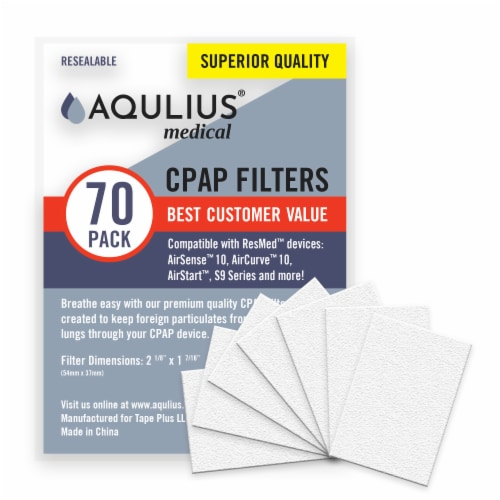 Disposable CPAP Filters (70 Pack - ONE Year Supply) - Fits All ResMed Air 10, Aircurve 10, S9 Perspective: front