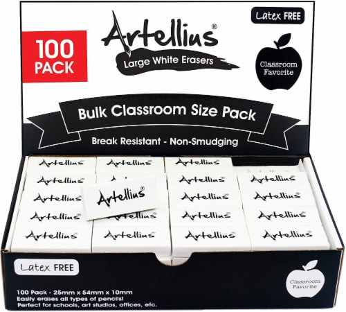 White Erasers Pack of 100 - Large Size Latex & Smudge Free for Art Classrooms, Teachers, Draw Perspective: front