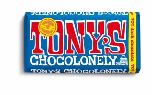 Tony's Chocolonely 70% Extra Dark Chocolate Bar Perspective: front