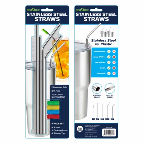 Hitt Brands Stainless Steel Straws, Silver Perspective: front