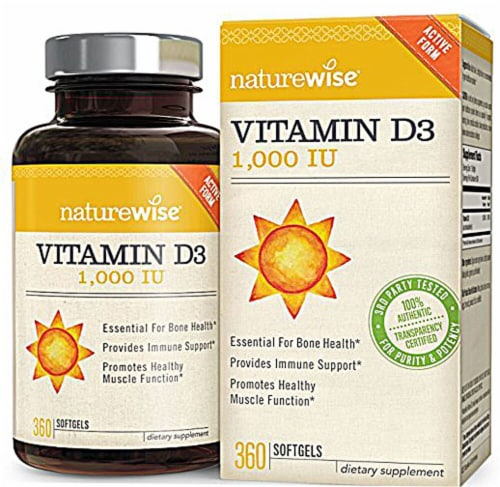 Naturewise Vitamin D3 Softgels 1000IU Perspective: front