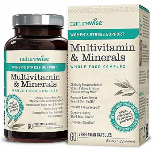 Naturewise  Women's Stress Support Multivitamin Whole Food Complex Perspective: front