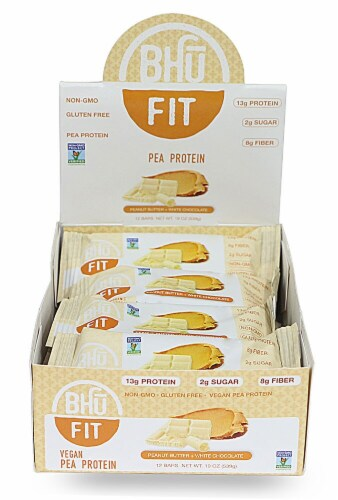 BHU  Fit Vegan Pea Protein Bar   Peanut Butter & White Chocolate Perspective: front