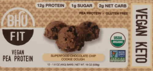 BHU Fit Vegan Superfood Chocolate Chip Cookie Dough Pea Protein Bars Perspective: front
