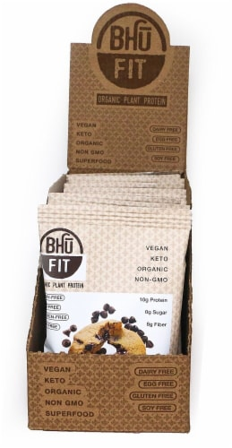 BHU  Fit Organic Plant Protein Cookie   Chocolate Chip Perspective: front