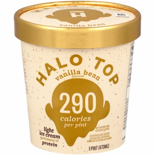 Halo Top Vanilla Bean Light Ice Cream Perspective: front