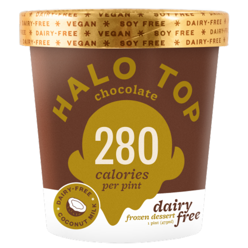 Halo Top Dairy-Free Soy-Free Vegan Chocolate Frozen Dessert Perspective: front