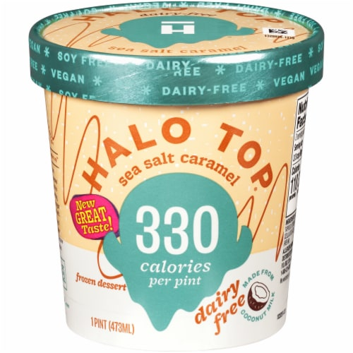 Halo Top Dairy-Free Soy-Free Vegan Sea Salt Caramel Frozen Dessert Perspective: front