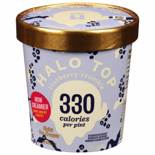 Halo Top Blueberry Crumble Ice Cream Perspective: front