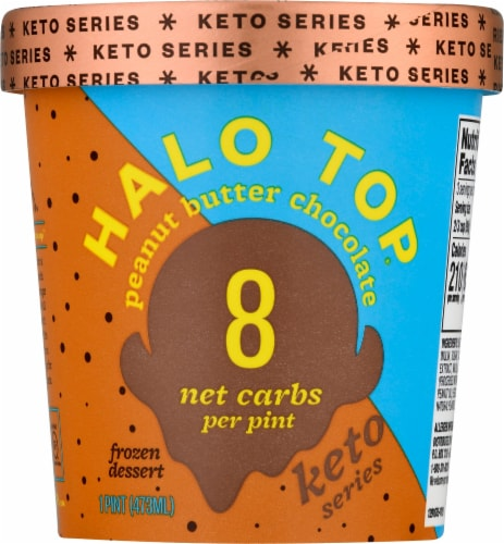 Halo Top Keto Peanut Butter Chocolate Ice Cream Perspective: front