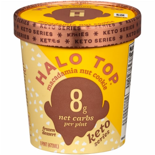 Halo Top Keto White Chocolate Macadamia Ice Cream Perspective: front