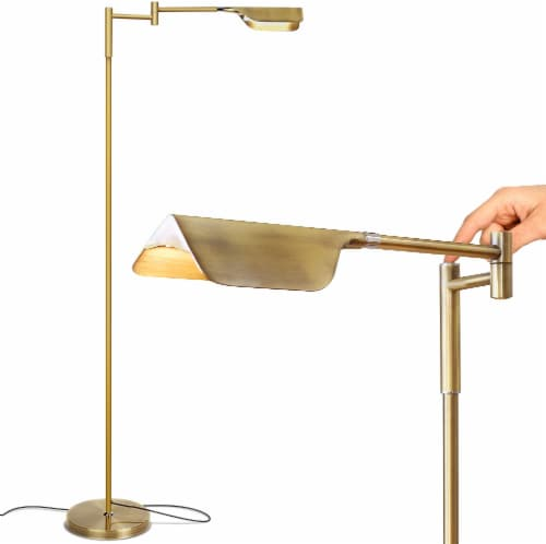 Brightech Leaf - Adjustable Pharmacy LED Floor Lamp - Antique Brass / Gold Perspective: front